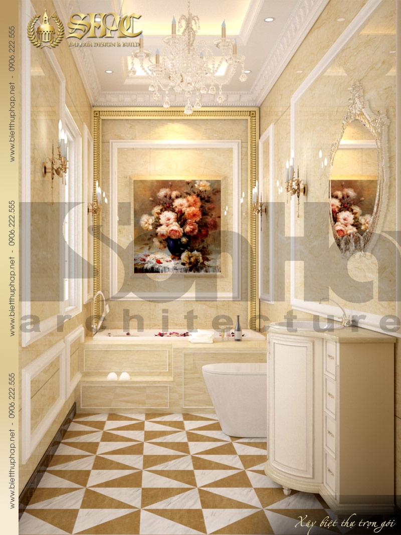 Phương án thiết kế nội thất phòng tắm và vệ sinh biệt thự cổ điển xa hoa đẳng cấp