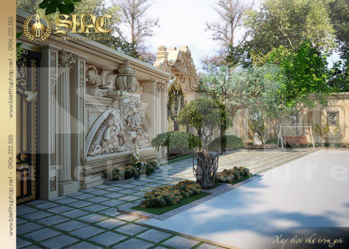 Phương án thiết kế sân vườn tiểu cảnh của biệt thự cổ điển rất được CĐT yêu thích