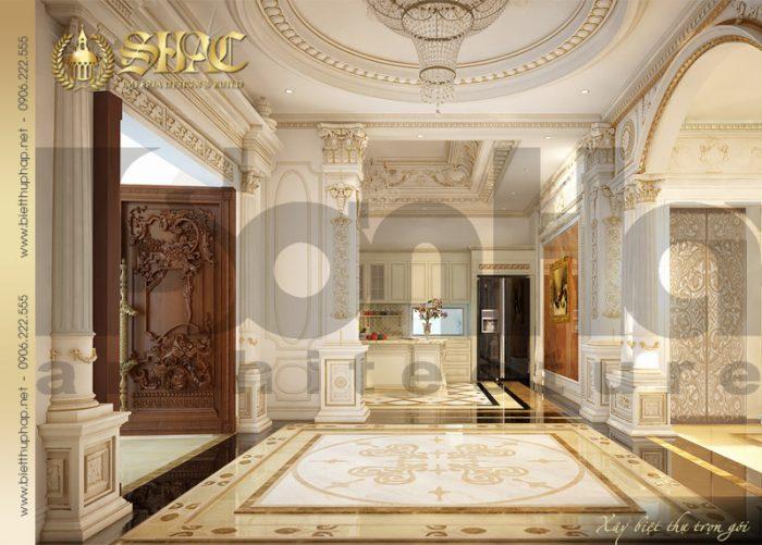 Thiết kế sảnh thang biệt thự cổ điển pháp sang trọng và đẹp từng tiểu tiết