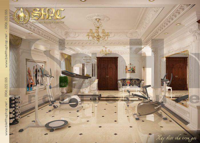 Mẫu thiết kế nội thất phòng gym cổ điển tại Sài Gòn bố trí đẹp trong diện tích lớn