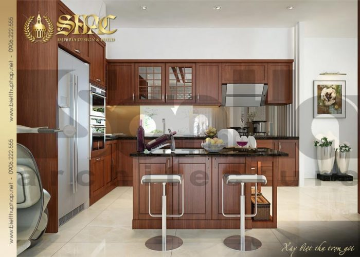 Phương án thiết kế nội thất phòng bếp ăn biệt thự phong cách pháp sang trọng