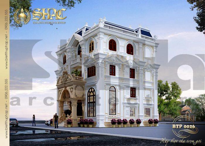 Mẫu thiết kế biệt thự kiểu pháp cổ điển dễ dàng chiếm thiện cảm người nhìn bởi sự tinh tế