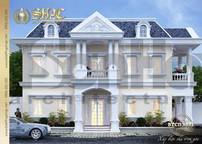 Phương án thiết kế biệt thự tân cổ điển 2 tầng đẹp với gam màu tinh tế