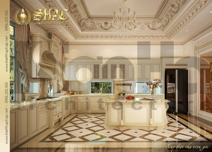 Mẫu nội thất phòng bếp ăn phong cách cổ điển sang trọng với nội thất gỗ cao cấp