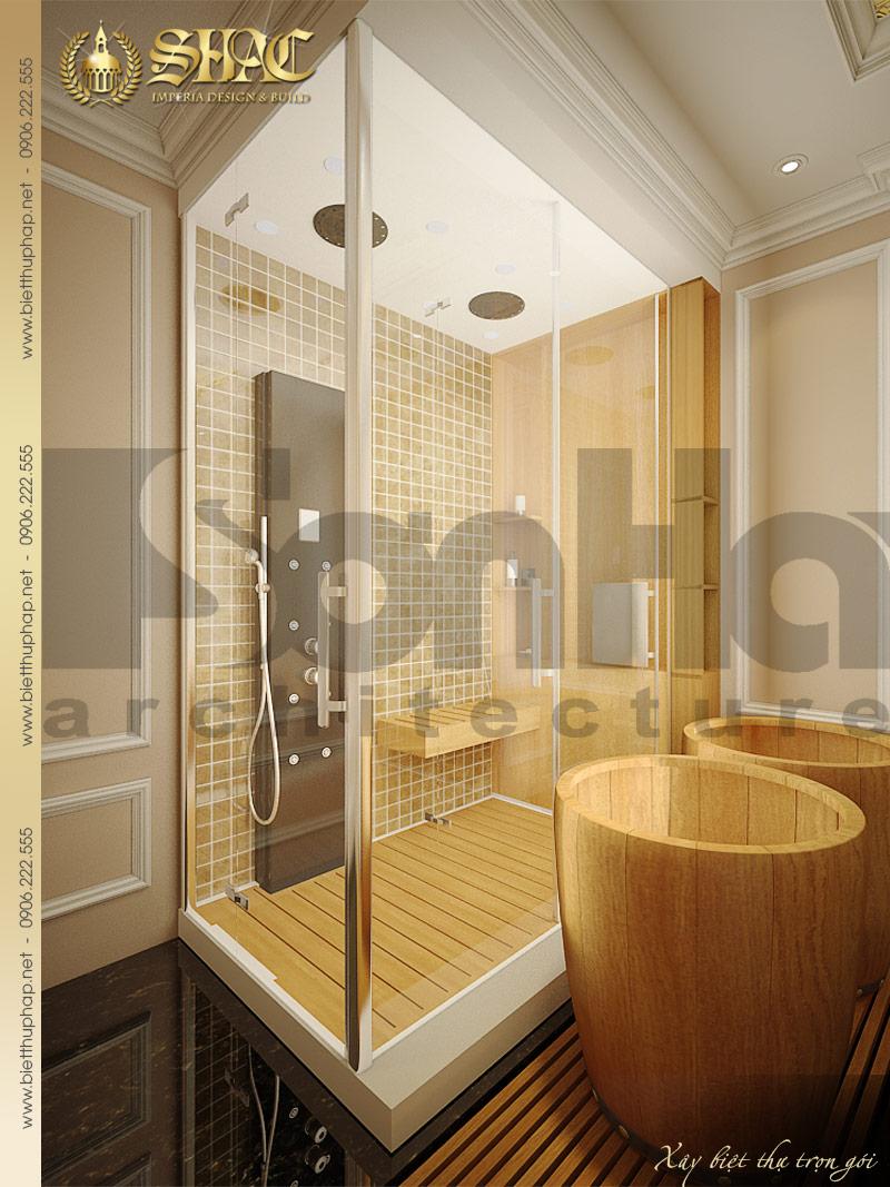 Mẫu thiết kế nội thất phòng tắm trắng trong không gian biệt thự cổ điển kết hợp spa