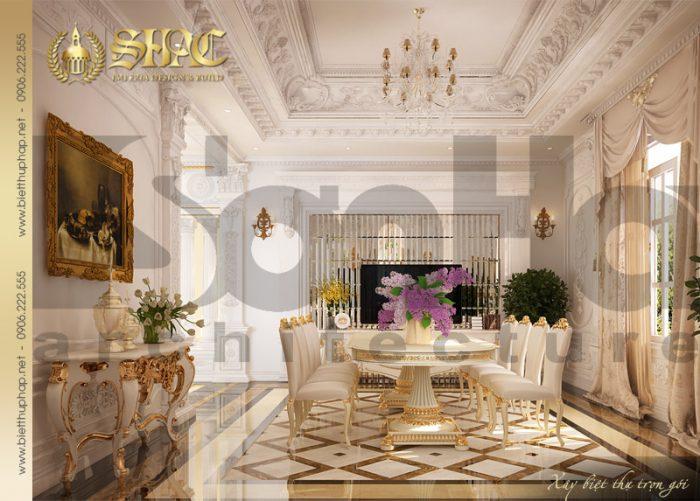 Mẫu thiết kế nội thất phòng ăn cổ điển xa hoa được đánh gia cao của biệt thự 4 tầng