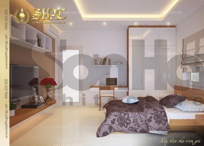 Thiết kế nội thất phòng ngủ của biệt thự 4 tầng kết hợp kinh doanh tại Sài Gòn