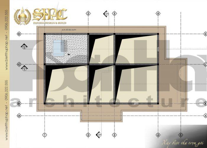 Bản vẽ mặt bằng công năng tầng áp mái biệt thự tân cổ điển pháp 2 tầng tại Sài Gòn