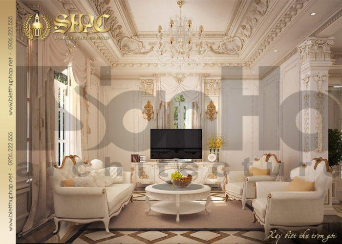 Phương án thiết kế ấn tượng của mẫu nội thất phòng sinh hoạt chung biệt thự cổ điển