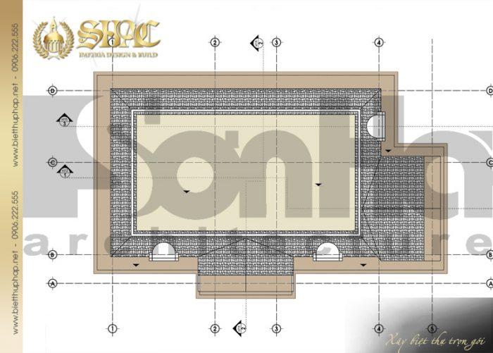 Bản vẽ mặt bằng công năng tầng mái biệt thự tân cổ điển pháp 2 tầng tại Sài Gòn