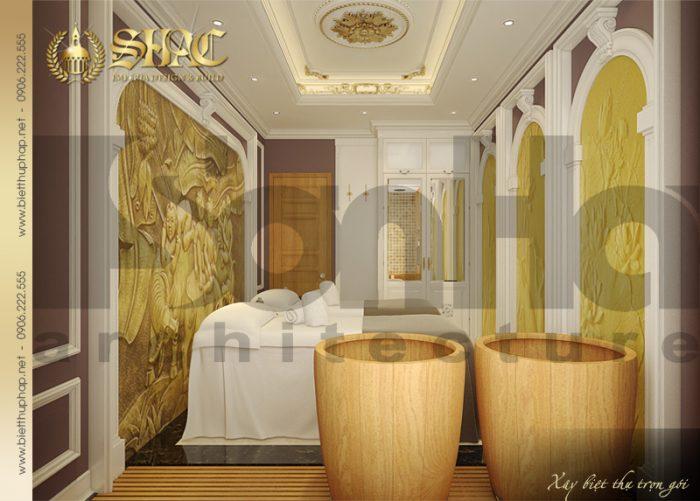 Mẫu nội thất phòng spa đôi trong không gian biệt thự cổ điển pháp 4 tầng đẹp