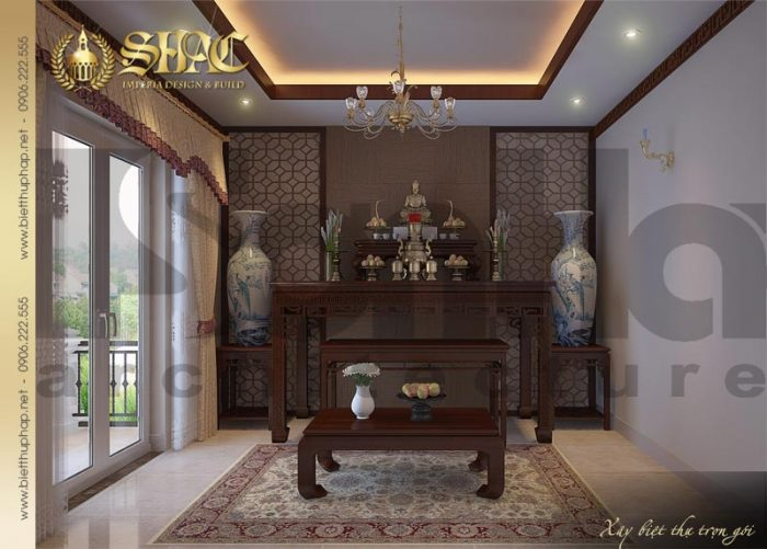 Mẫu thiết kế nội thất phòng thờ biệt thự phong cách pháp 4 tầng tại Sài Gòn