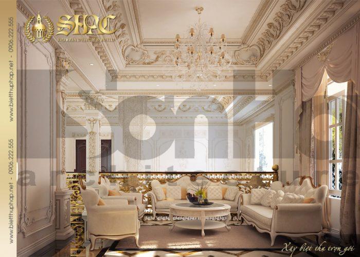 Thiết kế nội thất phòng sinh hoạt chung phong cách cổ điển biệt thự pháp 4 tầng