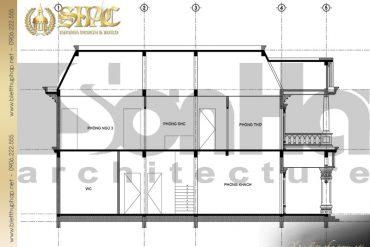 8 Mặt cắt 1 1 biệt thự tân cổ điển pháp tại sài gòn sh btcd 0021