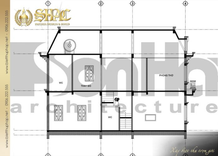 Bản vẽ mặt cắt 2-2 biệt thự kiến trúc tân cổ điển 2 tầng sang trọng tiện nghi
