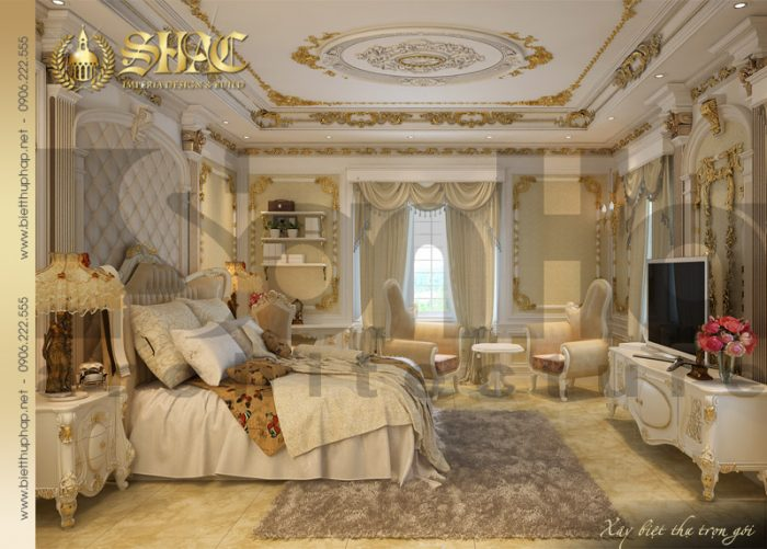 Phương án thiết kế nội thất phòng ngủ phong cách cổ điển xa hoa đẳng cấp của SHAC