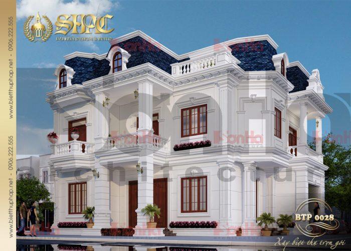 Hình ảnh thiết kế kiến trúc biệt thự pháp 2 tầng tại Quảng Bình đẹp với màu săc tinh tế