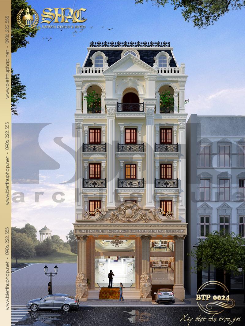 Mẫu thiết kế biệt thự kiểu pháp cổ 6 tầng kết hợp kinh doanh tại Lạng Sơn