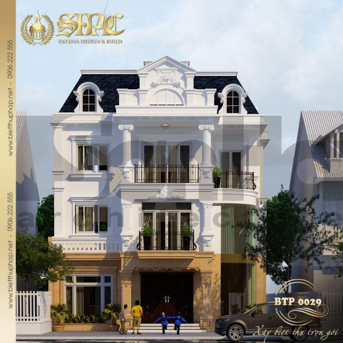 Một phiên bản nữa của ngôi biệt thự 3 tầng phong cách pháp mặt tiền 12m tại Hà Nội