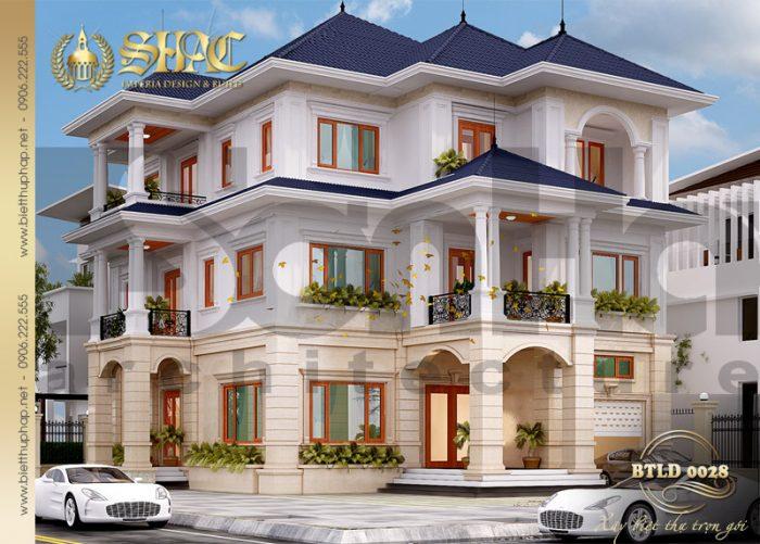 Mẫu thiết kế biệt thự kiến trúc tân cổ điển diện tích 187m2 tại Hải Phòng