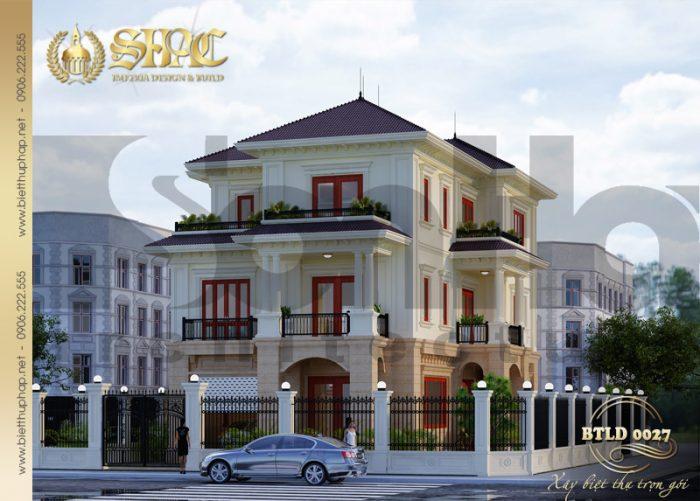 Phương án thiết kế được đánh giá cao của mẫu biệt thự tân cổ điển 3 tầng tại Quảng Bình