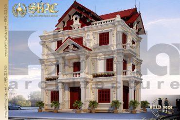 1.Thiết kế mặt tiền kiến trúc biệt thự tân cổ điển tại hải dương SH BTCD 0025