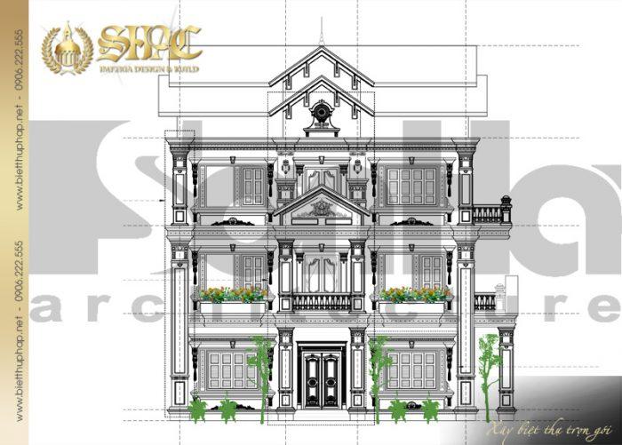 Mặt đứng chính biệt thự tân cổ điển diện tích sàn gần 95m2 tại Bình Giang (Hải Dương)
