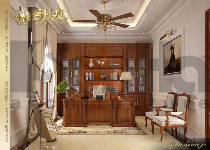 Mẫu thiết kế nội thất phòng đọc tiện nghi của biệt thự tân cổ điển 3 tầng tại Quảng Bình