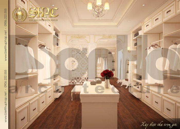 Thiết kế nội thất phòng thay đồ sang trọng của biệt thự phong cách pháp đẹp mắt