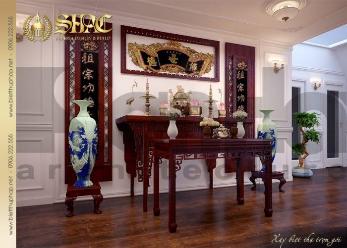Còn đây là phương án thiết kế nội thất phòng thờ biệt thự pháp đẹp mãn nhãn