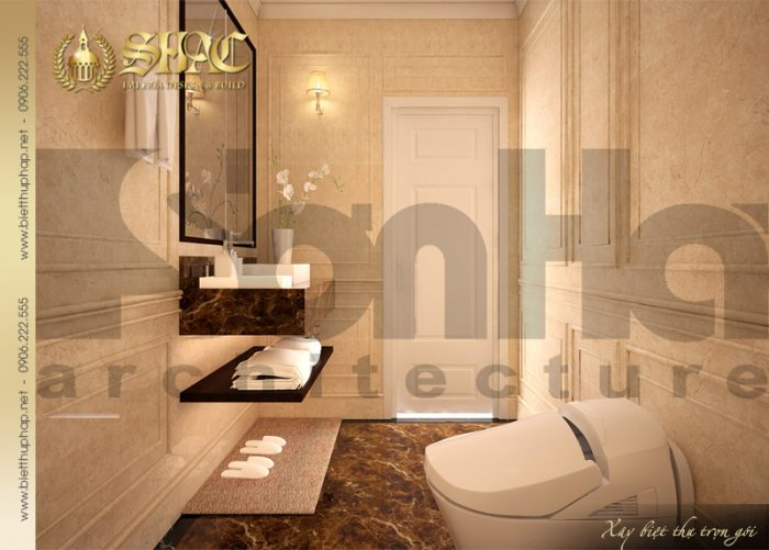 Phương án thiết kế nội thất phòng tắm và vệ sinh rộng rãi với nội thất cao cấp