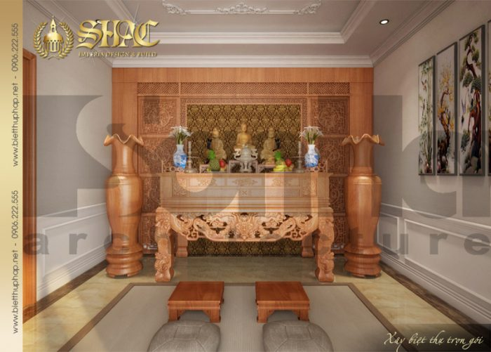 Phương án thiết kế nội thất phòng thờ biệt thự tân cổ điển tại Quảng Bình với đồ gỗ