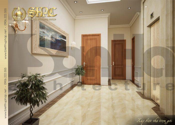 Phương án thiết kế nội thất sảnh thang biệt thự 3 tầng tân cổ điển tại Quảng Bình