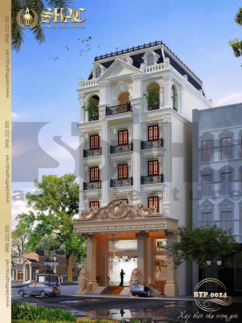 Phương án thiết kế kiến trúc biệt thự pháp cổ diện tích 12mx14m tại Lạng Sơn