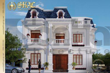 2 Mẫu kiến trúc biệt thự pháp đẹp tại quảng bình sh btp 0028