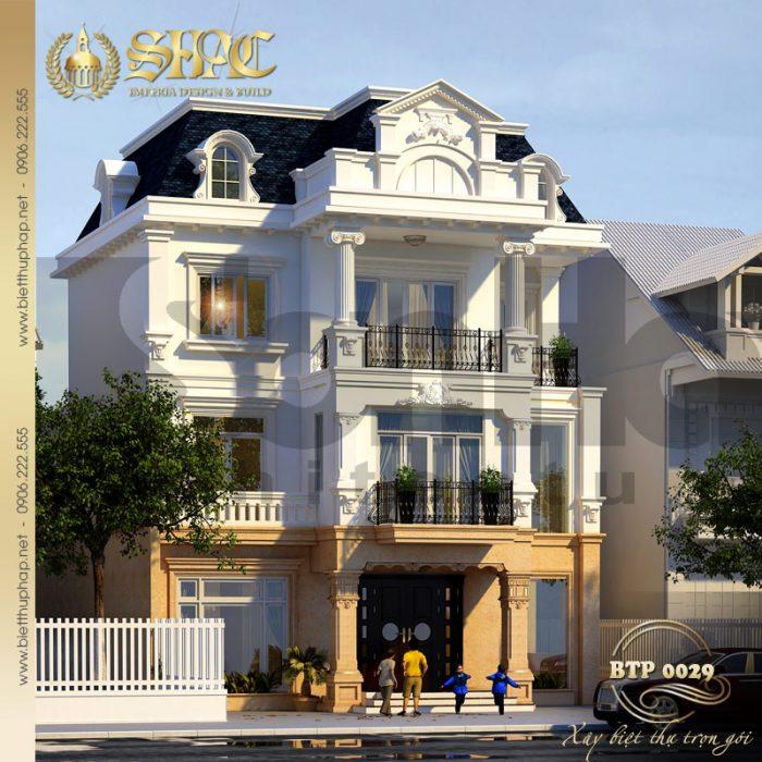 Kiến trúc mặt tiền khang trang và có chiều sâu của ngôi biệt thự 3 tầng kiểu pháp