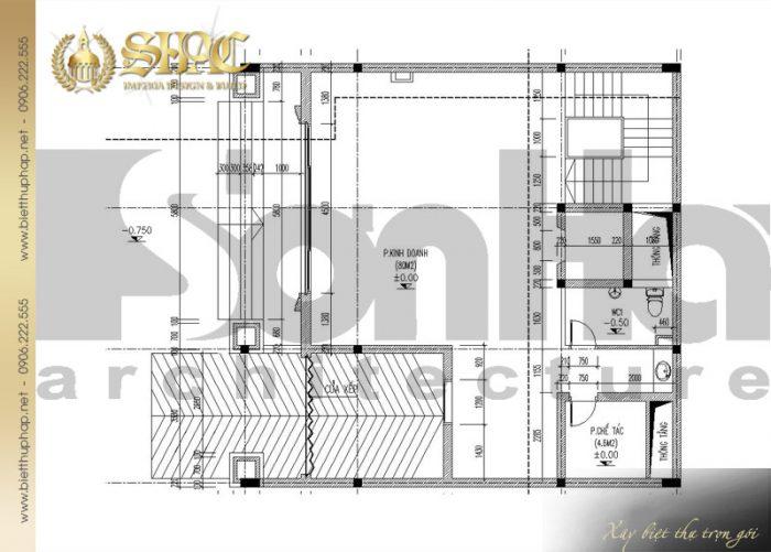 Bản vẽ mặt bằng công năng tầng 1 biệt thự cổ điển kiểu pháp 6 tầng tại Lạng Sơn