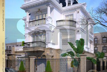3.Thiết kế kiến trúc biệt thự pháp phương án 2 tại hà nội SH BTP 0029