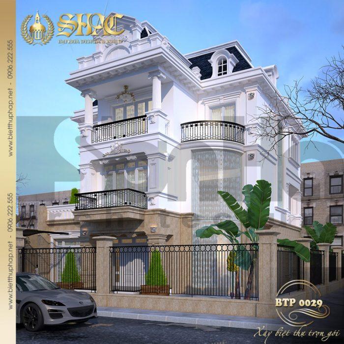 Phương án thiết kế cải tạo biệt thự phong cách pháp 3 tầng mặt tiền 12m tại Hà Nội
