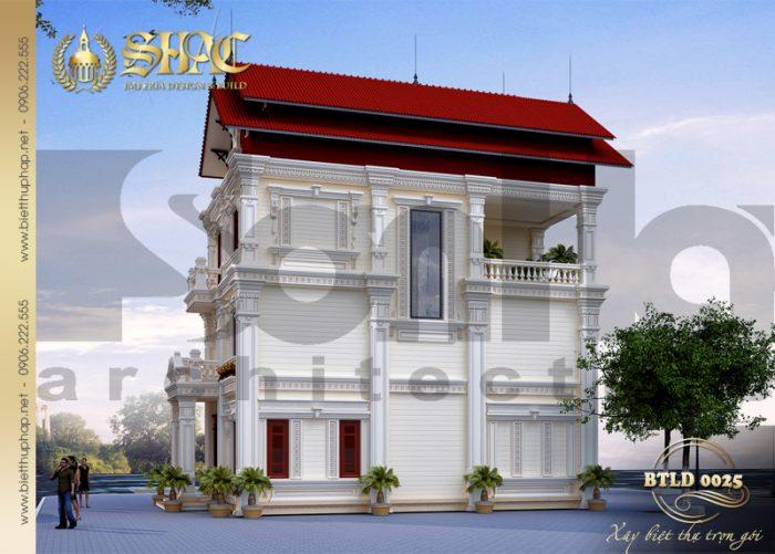 Thiết kế kiến trúc biệt thự phong cách tân cổ điển pháp được đầu tư từng tiểu tiết