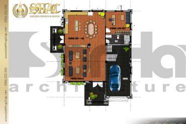 3.Thiết kế mặt bằng công năng tầng 1 biệt thự tân cổ điển đẹp tại hải phòng SH BTCD 0028