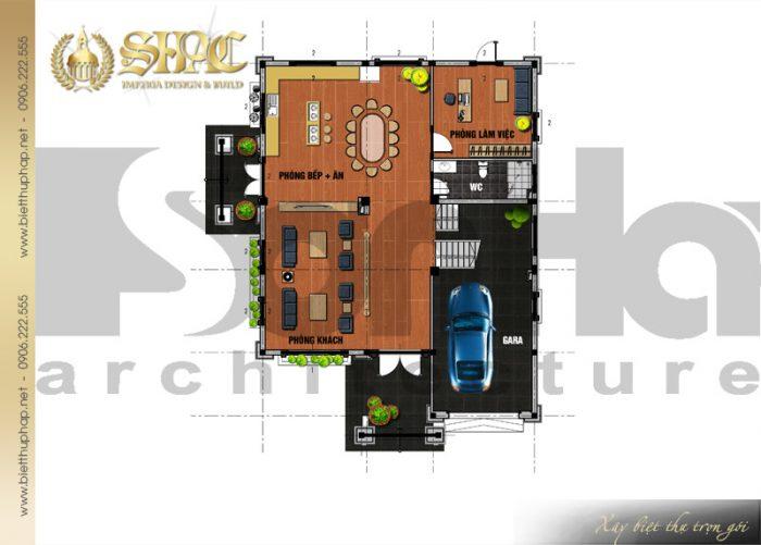 Bản vẽ mặt bằng công năng tầng 1 biệt thự 3 tầng phong cách tân cổ điển tại Hải Phòng