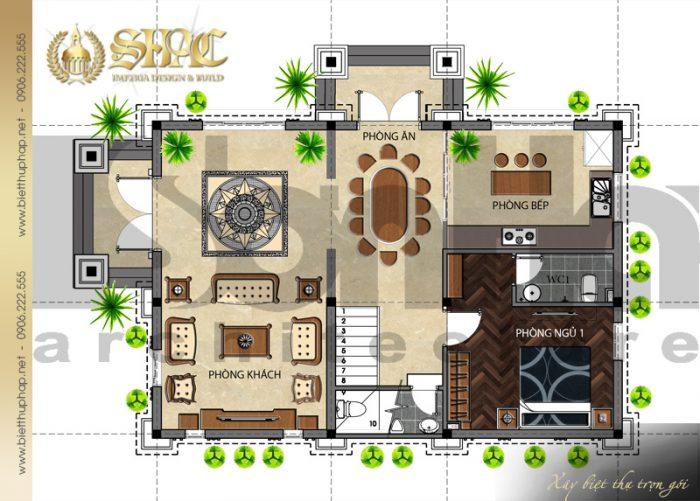 Mặt bằng công năng tầng 1 biệt thự kiến trúc tân cổ điển 3 tầng đẹp tại Hải Dương