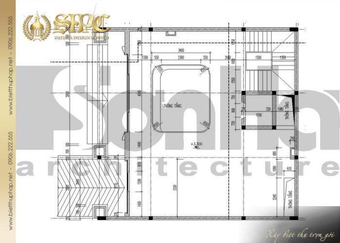 Bản vẽ mặt bằng công năng tầng lửng biệt thự cổ điển kiểu pháp 6 tầng tại Lạng Sơn