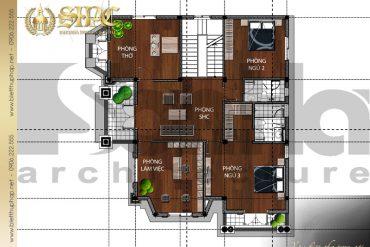 4 Mặt bằng tầng 2 biệt thự pháp đẹp tại quảng bình sh btp 0024