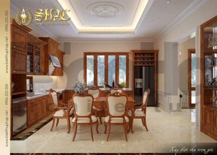 Mẫu nội thất phòng bếp ăn biệt thự tân cổ điển 3 tầng tại Quảng Bình với đồ gỗ cao cấp