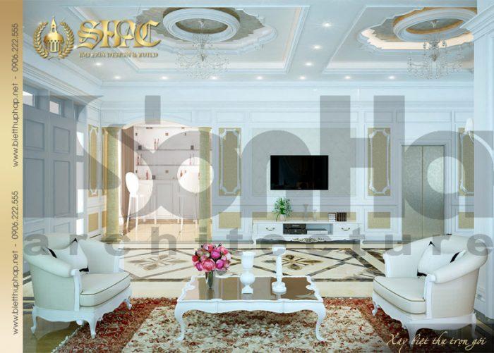 Mẫu thiết kế nội thất phòng khách biệt thự phong cách pháp được đánh giá cao