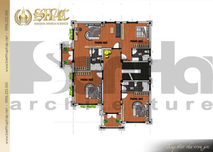 Bản vẽ mặt bằng công năng tầng 2 biệt thự 3 tầng diện tích 12mx15,6m tại Hải Phòng