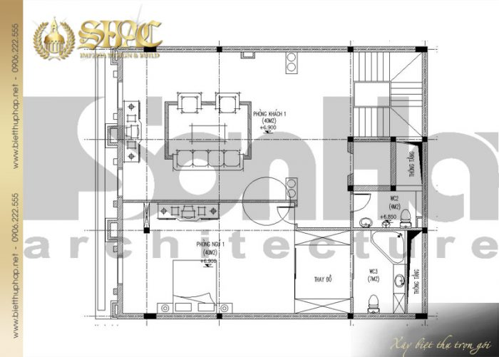 Bản vẽ mặt bằng công năng tầng 2 biệt thự cổ điển kiểu pháp 6 tầng diện tích 170m2