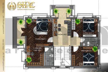 5 Mặt bằng công năng tầng 2 biệt thự tân cổ điển pháp tại hải dương sh btcd 0025